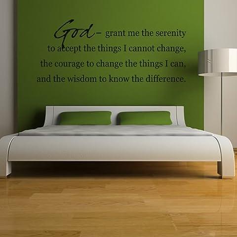 Dio mi conceda la serenità di accettare le cose che non posso cambiare Wall Sticker religiosa Adesivo Art disponibile in 5 dimensioni e 25 colori Grande Bianco - Adesivo Religiosi