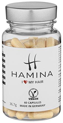 HAMINA Haar-Vitamine, TESTSIEGER 2017, Nahrungsergänzungsmittel für vitales und gesundes Haar, kräftige Nägel und sanfte Haut, fördert Haarwachstum, lindert Haarausfall, enthält hochdosiertes Biotin + Selen + Zink + Glucosamin + MSM, 60 vegane Kapseln