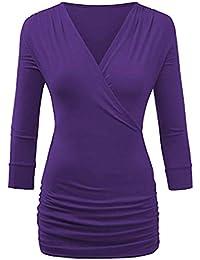 4c76dff7055b Moonuy Femme Manchon sept-quart Top couleur unie Chemisier Femme Chic  Casual Manches Longues Col V à Tops Blouse Mode Sweatshirt…