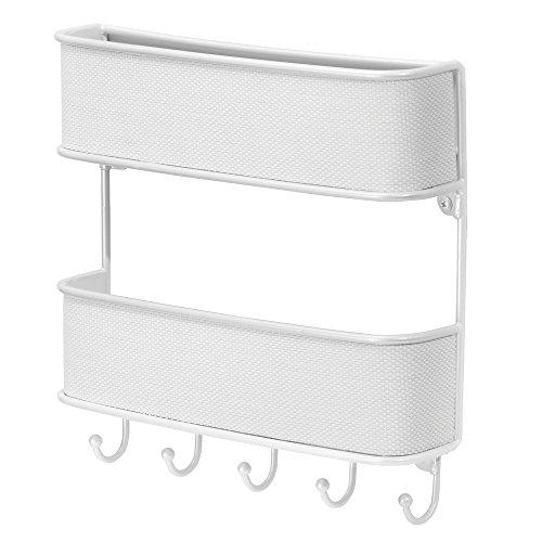 InterDesign Twillo Wandorganizer, für Post und Schlüssel, doppelte Briefablage und Schlüsselbrett mit 5 Haken aus Metall und Kunststoff, weiß (Korb-geldbeutel-handtasche)