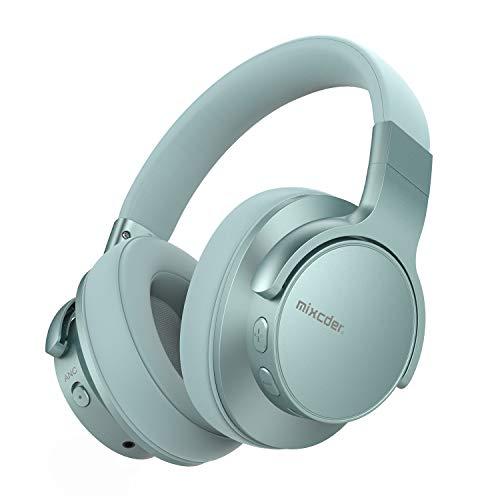 Mixcder E7 Casque Bluetooth à Réduction Active de Bruit V5.0 Audio Stéréo Circum Auriculaire ANC sans Fil avec Micro Basses Puissantes, 30h de Jeu, pour PC Smartphone TV, 2019 Mise à Jour - Vert