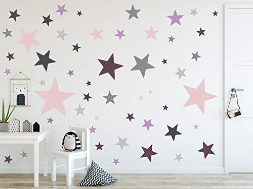 timalo® 120 Stück Wandtattoo Kinderzimmer XL Sterne Pastell Wandsticker - Aufkleber | 73079-SET27-120