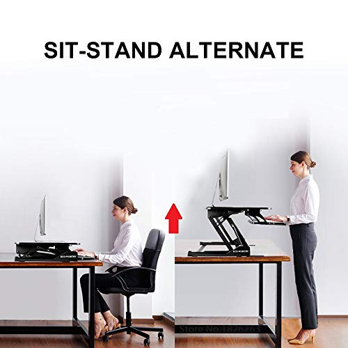 "DC HOUSE Computer Workstation Dual Monitor Height Adjustable Standing Desk Sit to Stand Gas Spring Riser Converter 36"" Tabletop"