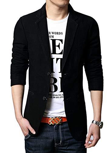 Chino-zwei-knopf-anzug-jacke (chouyatou Herren Slim 2-Knopf Einreihige Baumwolle Leichte Blazer Jacke Sport Mantel - schwarz - XS)
