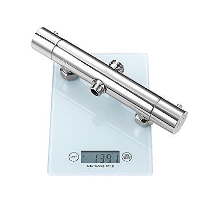 Hausbath – Mezclador de ducha termostático para baño, moderno, cromado, con tapa antical