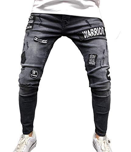 5528c6266b Huateng Hombres Skinny Jeans Negro Agujero Insignia Pegatinas Pies Pequeños  Pantalones Vaqueros Hombres