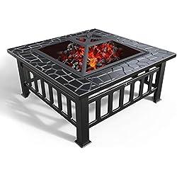 VOUNOT Brasero Exterieur pour Jardin Terrasses BBQ 3 en 1 Feu en extérieur Bac à Glaçons et Barbecue Brasero pour Fête et Foyer 81 * 81 * 45cm Poêle Chauffant Noir