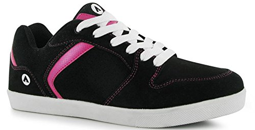 womens-ladies-happy-skate-leather-shoes-laced-trainers-6-39-black-pink