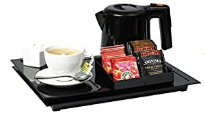 Deux plateaux petit déjeuner + 1 bouilloire hotel 0,600L + porte sachets thé café - l'ensemble noir