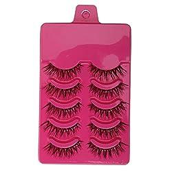 Magideal 5 Pairs Beauty Makeup Handmade Messy Cross Style False Eyelashes Purple