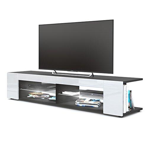 TV Board Lowboard Movie, Korpus in Schwarz matt / Fronten in Weiß Hochglanz inkl. LED Beleuchtung in Weiß