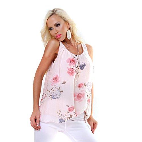 Italy Fashion Damen Edel Tunika Shirt Top Lagen Stufen FLOWER Rosa