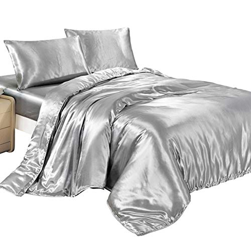 Juego funda edredón fundas almohada satén seda dormitorio