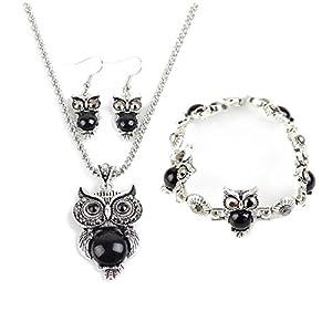 Hosaire 1 Set von Halskette + Ohrringe + Armband Retro Elegantes Eule Kristall Gem Anhänger Damen Necklace + Earring + Bracelet Set (Schwarz)