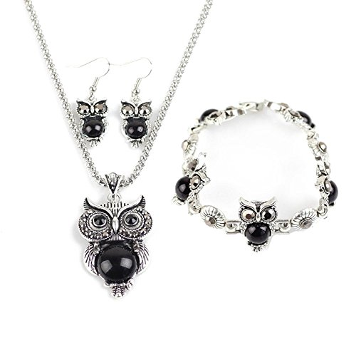 Kostüme Partner Gute (Hosaire 1 Set Halskette Ohrringe Armband Retro Frauen Elegantes Silber-Set der Eule Kristall Anhänger Halskette + Ohrringe +)