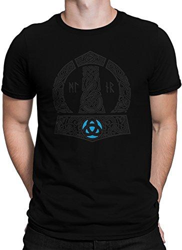 vanVerden Herren Fun T-Shirt Vikings Thor Hammer Wikinger Gott Donner Plus Geschenkkarte, Größe:4XL, Farbe:Schwarz/Schwarz