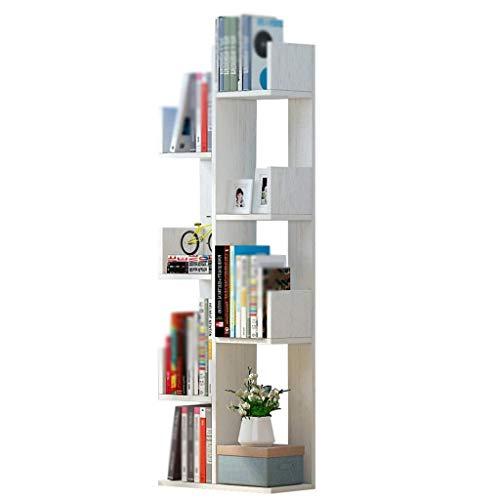 HJW Bücherregal Bücherregal Bodenstehend, Kleines Bücherregal aus Holzkombination, Weiß, 145 * 48 * 20CM