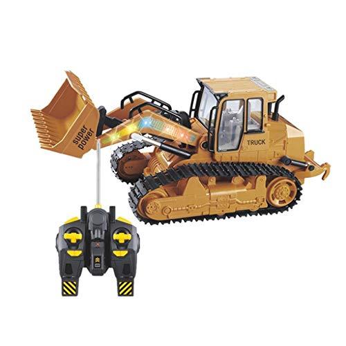 Fuibo RC 1:12 Bagger Schaufel Fernbedienung BAU Bulldozer mit Licht LKW Auto RTR Spielzeug Für Kinder und Erwachsene Spielzeug (Gelb) (Rc Tieflader)