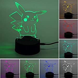 Pokemon Pikachu 3D Illusion LED Nachtlicht, 7 Farben Allmählich wechselnde Touch Switch USB Tischlampe für Weihnachtsgeschenke oder Wohnaccessoires