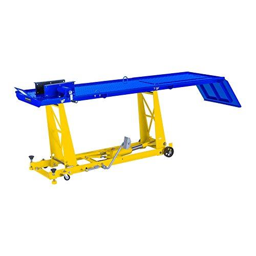 MSW Table Elévatrice Table de Levage MSW-MHB-450-780.3 (capacité de Charge 450 kg, Hauteur 18 - 78 cm, Plate-Forme (L x l): 220 x 68 cm, 4 Roues, étau pour Roue Avant : 8-19 cm)