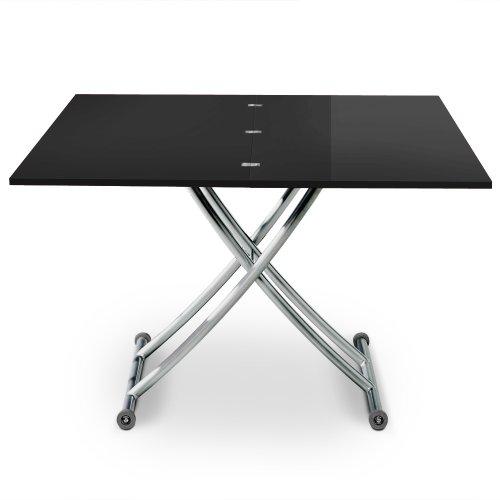 Menzzo B2219S Contemporain Carrera Table Basse Relevable Bois/Inox Laqué Noir 57/100 x 100/114,2 x 39/76,3 cm
