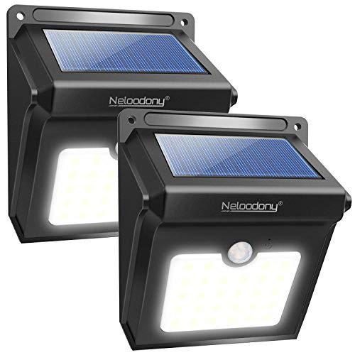 Foco Solar, Luces Solares 28 LED,1200mAh Lámparas Solares de Pared Impermeable, Luz de solar,Luces de Exterior con Sensor de Movimiento Batería Solar Exterior para Jardín,Patio,Camino,Escalera, 2 Paquete