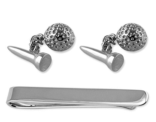 Sterling Silber Golfball & Tee Manschettenknöpfe Tie Clip Box Set