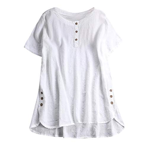 Bluse FGHYH Mode Frauen Kurzarm Kaftan Baggy Button Baumwolle Leinen Lässige Tunika Bluse(XXXL, Weiß)