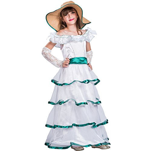 EraSpooky Mädchen Weißlese Rüsche Schwingen Weiße Prinzessin hübsches Kleid(Weiße, ()