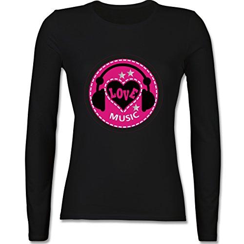 DJ - Discjockey - Love music - tailliertes Longsleeve / langärmeliges T-Shirt für Damen Schwarz