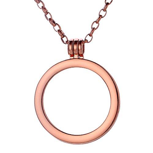Morella Damen Coin 33 mm Träger Anhänger mit Edelstahl Halskette 70 cm rosegold und Schmuckbeutel