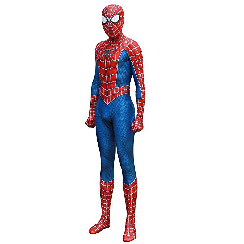 GBRALX Spiderman Kostüm 3D Print Ganzkörper Jumpsuit Body Halloween Cosplay Anzug Insert Linsenmaske Für Erwachsene Halloween Kostüm Kostüm,A-XL
