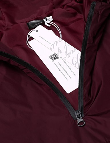 FINEJO Regenjacke Herren Wasserdicht Leicht Kapuzejacke Vintage Windbreaker Atmungsaktiv für Männer Wine Rot