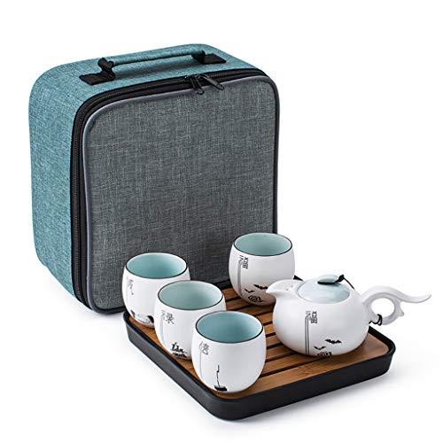 Handgemachte tragbare Kung Fu Tee-Set, Tee-Set im chinesischen Stil, Reise-Tee-Set mit Teetasse, Teekanne, Tee-Tablett