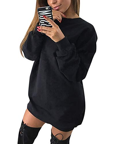 Minetom Damen Langarm Sweatshirt Herbst Winter Lange Pullover Einfarbig Pulli Sexy Oversize Tunika Mini Kleid Casual Lose Rundhals Tops Schwarz DE 38