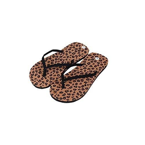 LouiseEvel215 Zapatillas lindas Zapatillas Con Estampado de Leopardo Chanclas ocasionales antideslizantes Zapatillas de piso de Verano Con Suela Suave para Mujeres
