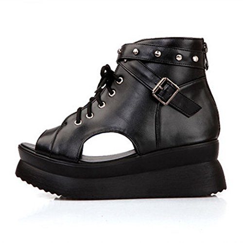 COOLCEPT Damen Mode-Event Lace Up Bootie Pumps Peep Toe Flatform Party Shoes Schwarz