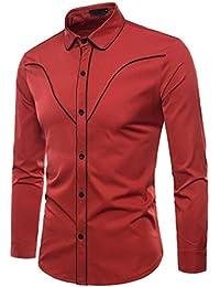 Yvelands Liquidación Casual Shirts Camisa de Manga Larga de Moda de otoño  Hombres Camisa de Solapa 4d3e901e878a9