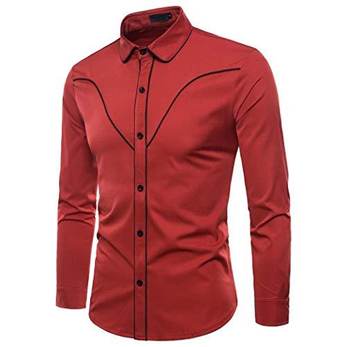 Yvelands Liquidación Casual Shirts Camisa de Manga Larga de Moda de otoño Hombres Camisa de Solapa de Blusa de Negocios S-10XLStriped Shirt