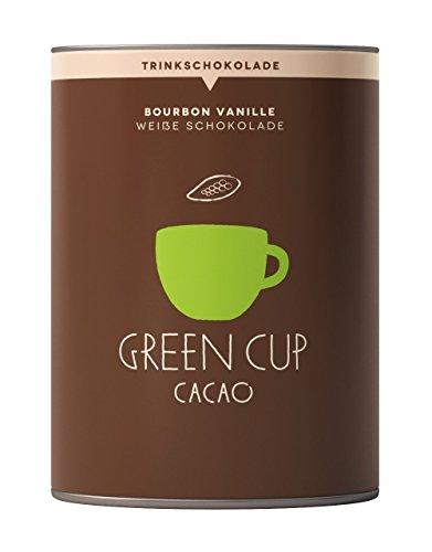 Green Cup Coffee Trinkschokolade Bourbon Vanille - edle weiße Trinkschokolade - Kakaobohnen & Vanille aus Madagaskar für heiße weisse pure Schokolade - Fairtrade & Bio - 227g Dose (Schokoladen-vanille-milch)