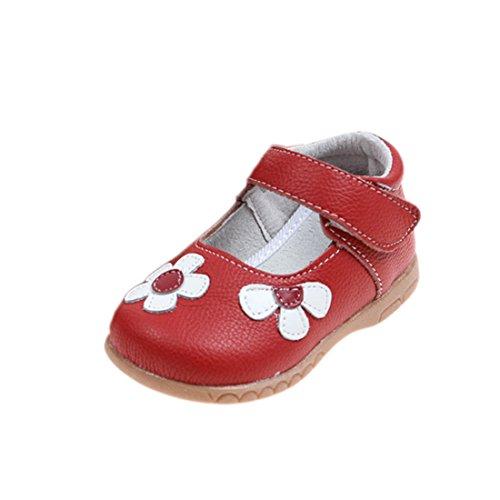 YIBLBOX Mädchen Sommer Echtes Leder Sandale Ballerina Mary Jane Halbschuhe Weichen Sohlen Baby Leder Lauflernschuhe Flache Schuhe (Rote Mädchen Janes Mary)