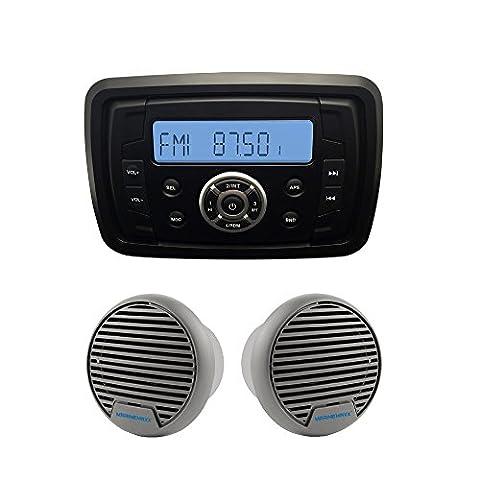 Extérieur Imperméable Marine Radio fmam Récepteur audio Lecteur MP3Bluetooth Marine pour Yacht Bateau + 7,6cm Marine Haut-parleur ATV de Salle de Bain