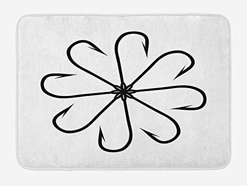 Soefipok Angeln Badematte, Blume geformt Artisan Stahl Multi Haken Gaff in Reihe Nadel Gerät Abbildung drucken, Plüsch Badezimmer Dekor Matte mit Rutschfester Unterlage -