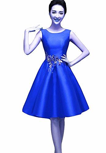 Emmani da donna damigella d' onore abiti al ginocchio, senza maniche, collo rotondo Blue