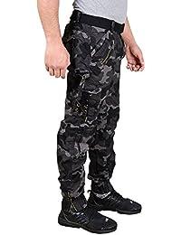 Krystle Men's Cotton Stylish Relaxed Fit Zipper Dark Black Dori Cargo Jogger Pants