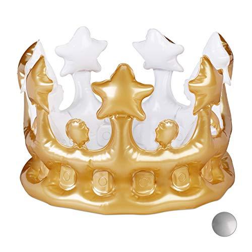 Relaxdays Aufblasbare Krone, Kostümzubehör Karneval, Accessoire für Prinzessin, König, JGA, Geburtstagskrone, Spaß, Gold -
