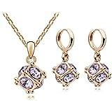 RHYJKOJ Set di Gioielli Orecchini Pendenti inCristalloColor Oro con Pendente Collana Set di Gioielli in Cristallo Gold Violet
