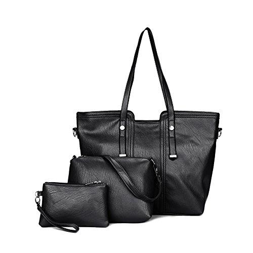 1203e94eb2966 Leder Damen Handtaschen Große Henkeltaschen Satchel Hobo Crossbody  Umhängetaschen Taschen Geldbörse mit 3 Stück Set für