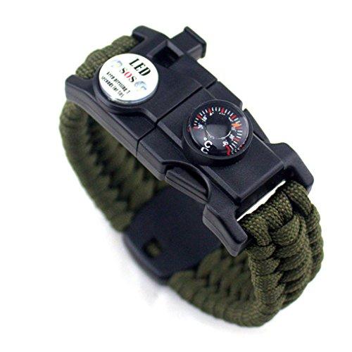 Männer Frauen Geflochtene überleben Armband LED-Licht Paracord Armband Camping Rettungsseil Zahnradsatz mit Pfeife-Kompass-Feuer-Starter Pandiki