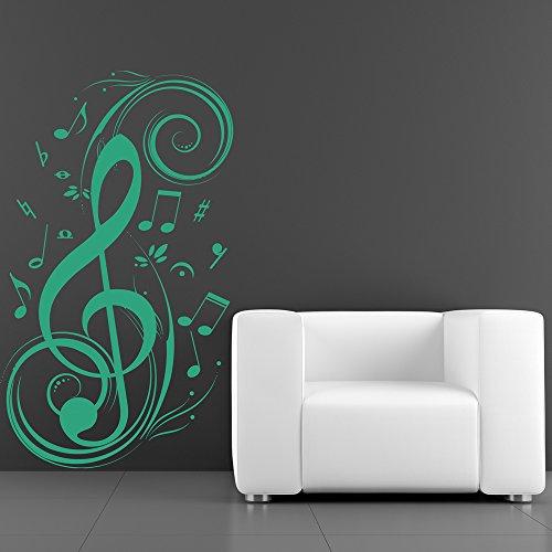 Chiave di violino e note musicali wall sticker musica adesivo art disponibile in 5 dimensioni e 25 colori extra-small bianco